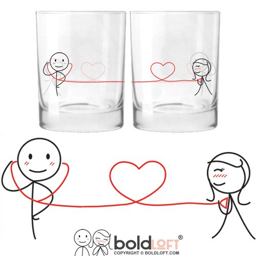 BOLDLOFT My Heart Beats for You His and Hers Drinking Glasses- Christmas Gifts for Boyfriend for Girlfriend, Couples Gifts for Him and Her, For Him Gifts, 3 Year Anniversary Gifts for Husband for Wife