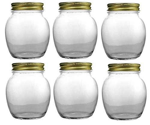 Nakpunar 6 pcs, 12 oz Globe Jars with Gold Lids -