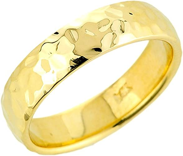 Wellingsale 14k Two 2 Tone White and Yellow Gold Brilliant Satin 6MM Diamond Cut Classic Fit Wedding Band Ring