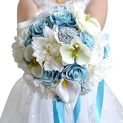Amazon.com: Abbie Home Light Blue Wedding Bouquet - Calla Dahlia ...