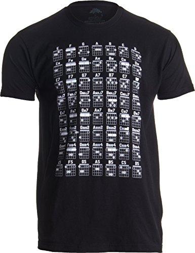 Guitar Screen Print Tee - Guitar Chord Chart | Cool Musician Guitarist Teacher Music Playing Notes T-Shirt-(Adult,2XL) Black