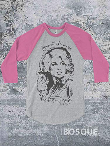 Dolly Halftone Style - Figure out who you are, then do it on purpose Country Music Inspired Southern Style 3/4 Sleeve Baseball Raglan Tee Top Shirt - Ink Printed