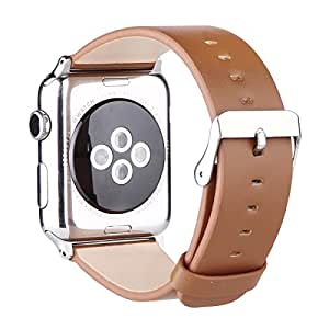 Apple Watch Leather Band 42mm, Genuine Calf Leather Strap for Apple Watch Series 1 Series 2 with Classic Stainless Steel Buckle, Brown