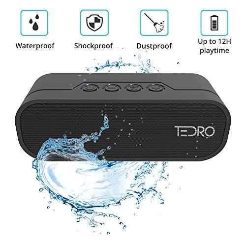 TEDRO Waterproof Bluetooth Speaker, Portable 20w True Stereo L/R Speaker, Shockproof with 4400mAh Power Bank and FM Radio, Micro SD Card, AUX, Presentation Box, NX-4017F in - Radio Wireless