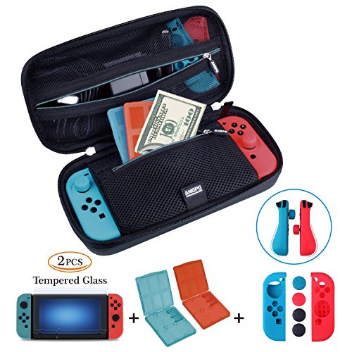 【Nintendo Switch Case Game Accessories 4in1 Protector Kit Set】 Travel Case/Joy-con Protector/2x Screen Protector/2x Game Card Storage Case by ANGPO(Oxford-Blue)