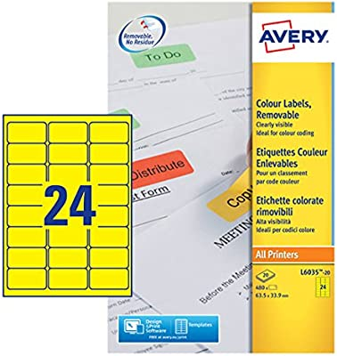 photograph relating to Removable Printable Labels identify Avery L6035-20 Printable Labels with Detachable Adhesive (Label Sizing 63.5 x 33.9 mm, 20 A4 Sheets For each Pack) - Yellow