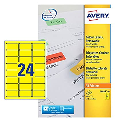 photo relating to Removable Printable Labels identified as : Avery L6035-20 Printable Labels with Detachable