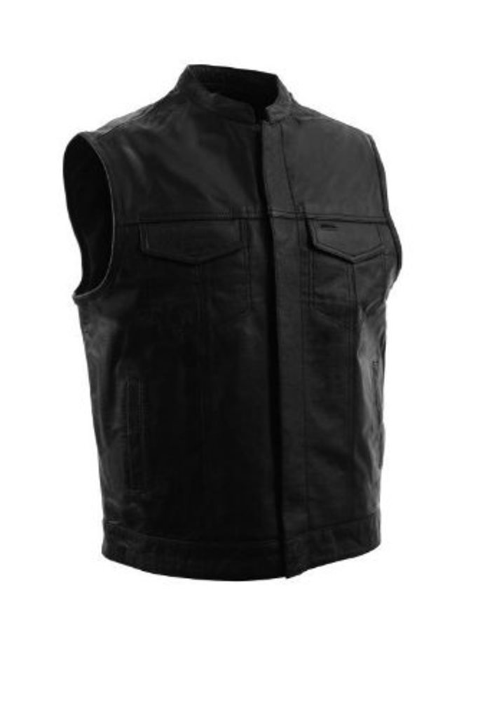 The Nekid Cow Brand SOA Motorcycle Sons of Anarchy UNIQUE Open Collar Club Leather Vest w/ Snap & Zipper-Front Closure ~ Concealed Gun Pockets - Black on Black - SOFT LEATHER (Large)