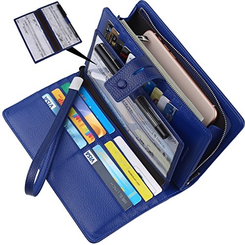 Blocking Leather Checkbook Credit Card Holder Wallets Clutch for Women with Wristlet Strap(Navy Blue) ()