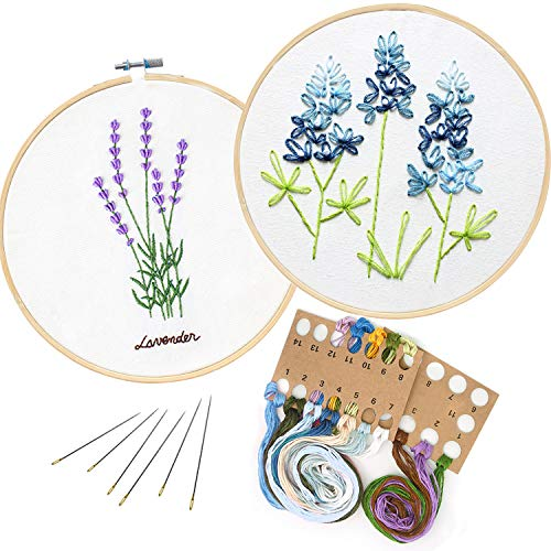 2 Pack Embroidery Kit, Full Range of Embroidery Starter Kit with Pattern DIY Embroidery Kit for Beginner Including Embroidery Cloth, Embroidery Hoop, Threads, Tools Kit (Lavender and Lupine)