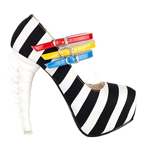SHOW STORY New Bone High Skull Black White Stripe 3 Strap Platform Bone Heel Mary Jane Platform Bone Heels Shoes,LF80636BK38,7US,White (Jane White Shoes Adult)