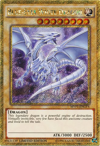 (Yu-Gi-Oh - Blue-Eyes White Dragon - MVP1-ENGV4 - Gold Secret Rare - Limited Edition - the Dark Side of Dimensions Movie Pack Gold Edition (Limited)