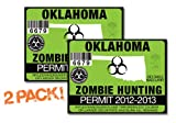 OK-ZOMBIE HUNTING PERMIT TAG-2 PACK-DECAL STICKER-LICENSE-2012/2013-Oklahoma