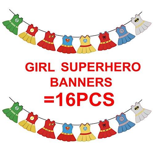 e145794d5e8 Amazon.com  Superhero Dc Super Girls Justice League Bunting Baby Shower Girl  Banners Marvel Avengers Spidergirl Batgirl Superhero Girl First Birthday   Toys ...