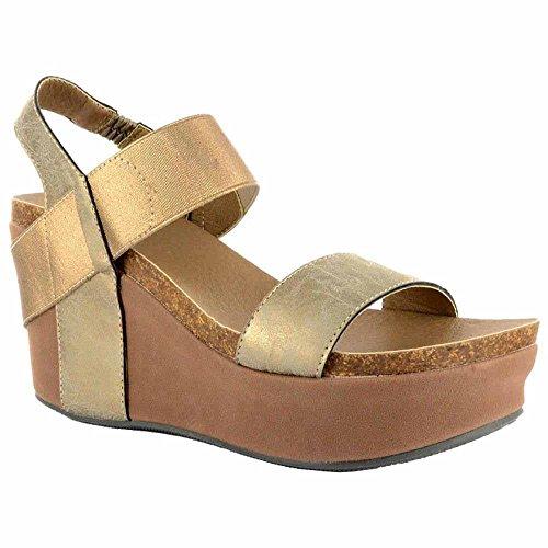 Corkys Platform Womens Thick Leather Strap Wedge Heel Sandal