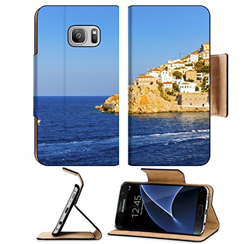MSD Premium Samsung Galaxy S7 Flip Pu Leather Wallet Case Sailing boat entering Hydras main port in Greece Saronikos gulf Image ID 24769384