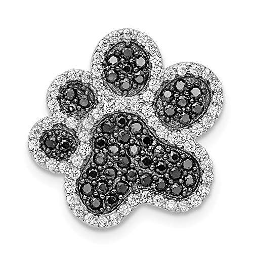 - 925 Sterling Silver Black/white Cubic Zirconia Cz Paw Print Pendant Charm Necklace Animal Dog Fine Jewelry Gifts For Women For Her
