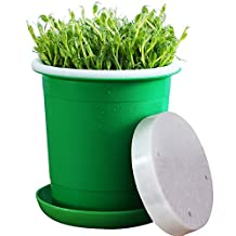 Seed Sprouter,Green Health Bean Sprouting Pot Device 5 in 1:Inner+Outer Bucket,Pressure Plate,Lid,Tray and Counting Cup