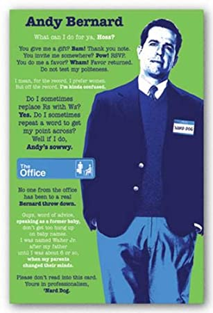 the office posters. The Office Poster Andy Bernard TV Show Comedy Print, 22x34 Posters
