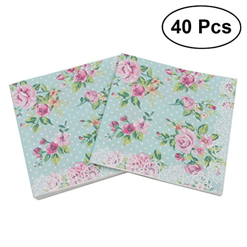 - BESTOYARD 40Pcs Floral Paper Luncheon Napkins Flower Printed Luncheo Napkins Serviettes for Wedding Birthday Baby Shower Dinner