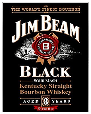 (13x16) Jim Beam Kentucky Straight Bourbon Whiskey Black Label Tin Sign , 13x16