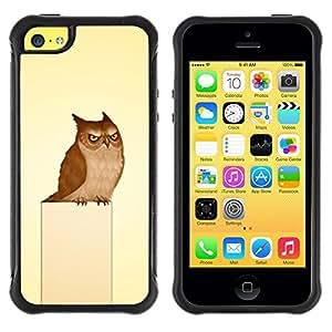 Suave TPU Caso Carcasa de Caucho Funda para Apple Iphone 5C / Funny Mad Evil Owl / STRONG