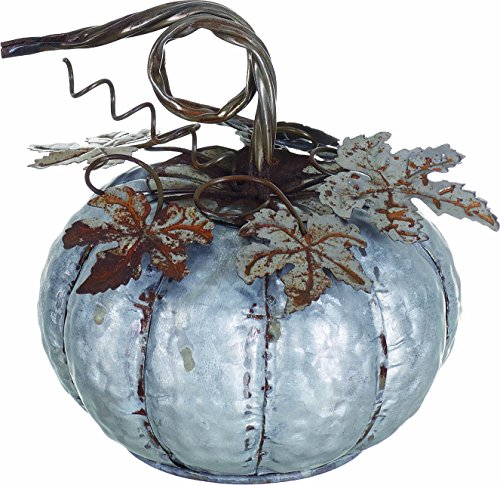 Transpac Small Galvanized Metal Decorative Pumpkin