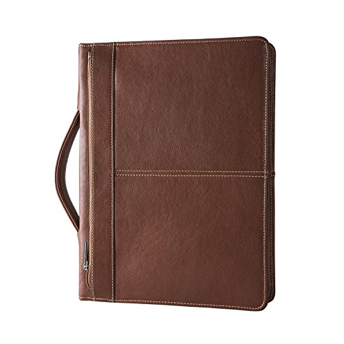 Hifriend Genuine Leather Portfolio, Professional Briefcase Business Organizer Padfolio Case, Letter Size Notepad, with Retractable Handle, Custom Engraved Handmade Gift for Women & Men ()
