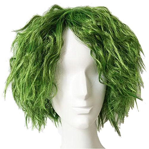 Dark Knight Joker Costume Accessories (The Knight Wig Cosplay Short Grass Green Fluffy Curly Hair Mens Accessory Coslive)