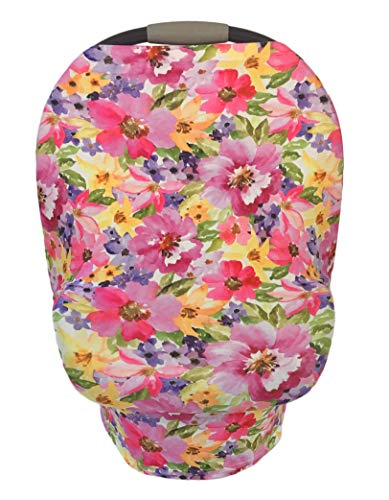 - 6 in 1 Pink Infant Car Seat Cover, Nursing Cover, Shopping Cart, High Chair Cover-Cotton-Stretchy-Breathable-Watercolor Floral
