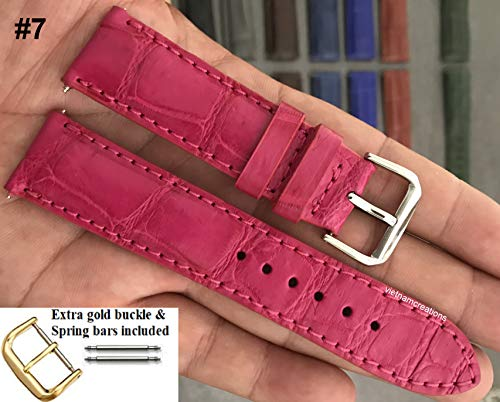 20mmGenuine CROCODILE/ALLIGATOR Skin Leather Watch Strap Band for men Handmade (20mm, 07 Pink)