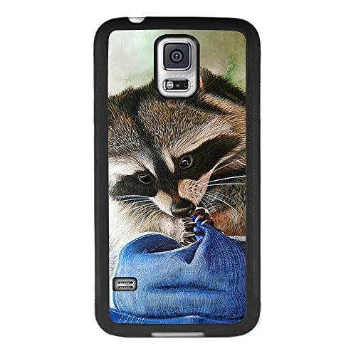 Bolostin Cases for Samsung Galaxy S5 with TPU and Hard Shell Silicone All Edges Shockproof Fashion Pattern Soft Rubber Protection Case Cover Raccoon Drawing Samsung Galaxy S5 Case (Samsung Raccoon S5 Case Galaxy)