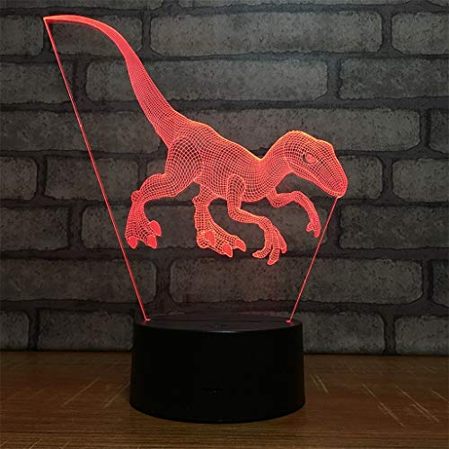 (Dinosaur 3D Kids Night Light 7 Colors Changing 3D Lamp Remote Control Table Desk Lamp for Boys Girls Kids Adults Children Toy Birthday)