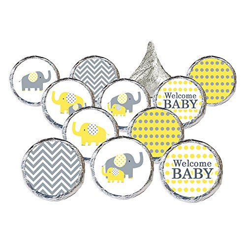 Yellow and Gray Elephant - Unisex Baby Shower Favor Stickers (324 Count) ()