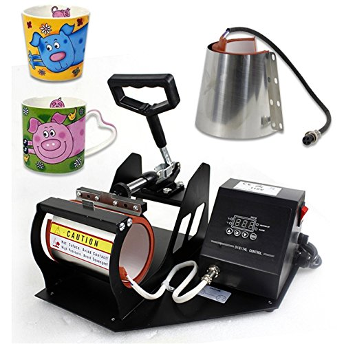 Smartxchoices 2 in 1 Auto Digital Display Mug Cup Heat Press Transfer Sublimation Heat Press Machine (two stainless steel mug attachments)