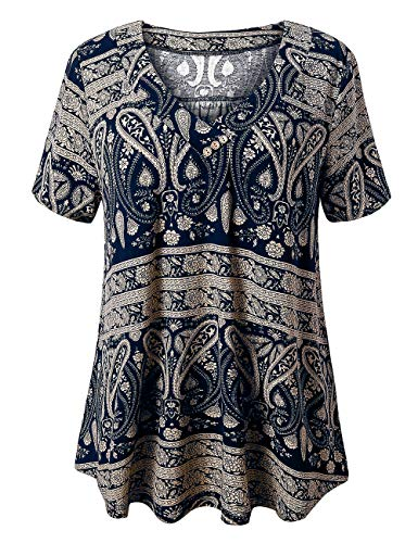 (FOLUNSI Women's Plus Size Foral Printed Short Sleeve Henley V Neck Pleated Casual Flare Tunic Blouse Shirt Multi Navy Blue XL)