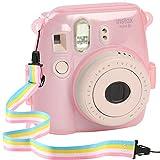 Katia Instant Camera Mini 8 Crystal PVC Case with Shoulder Strap for Fujifilm Instax Mini 8/ Mini 8+/ Mini 9 Instant Film Camera (Pink)