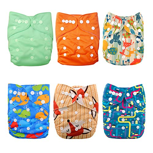 Babygoal Baby Reusable Cloth Diapers, Washable Pocket Nappy, 6pcs Diapers +6pcs Microfiber Inserts+4pcs 3-Layer Bamboo Inserts,Boy Color 6FB08