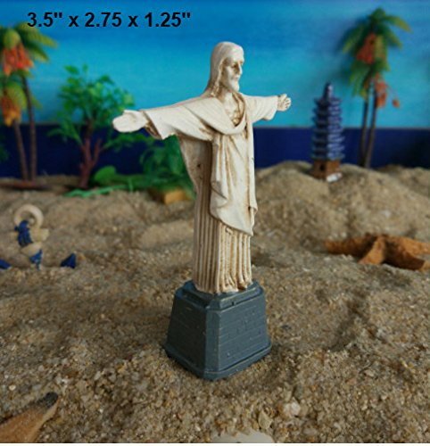 Kimoo 0136 Miniature Resin Jesus Christ the Redeemer Rio de Janeiro Brasil Statue Sculpture Aquarium Bookshelf Sandy Psychotherapy Ornament Fish Tank Decoration Reptile Fish (Christ Rio Statue Redeemer)