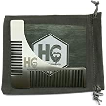 HoogaGoods HG Stainless Steel Beard Guide Comb and Shaping Tool Template for Men Plus Carrying Bag (Silver, 4.3 by 4 inches, Set of 1 plus users guide). Perfect Tool for Different Beard Styles