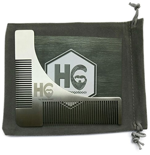 HoogaGoods HG Stainless Steel Beard Guide Comb and Shaping Tool Template for Men Plus Carrying Bag (Silver, 4.3 by 4 inches, Set of 1 plus users guide). Perfect Tool for - Grooming 4in 1 Comb
