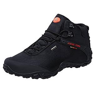 XIANG GUAN Men's Outdoor High-Top Oxford Water Resistant Trekking Hiking Boots Black 11