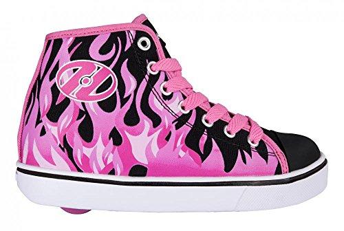 Heelys Veloz, Zapatillas Unisex Niños Negro/rosa con llamas