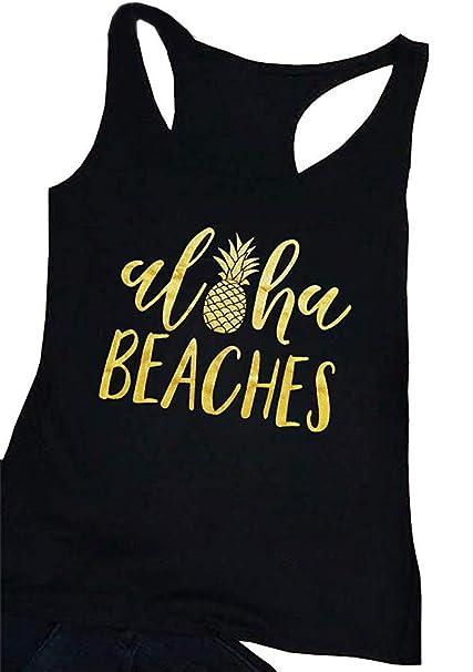 4681c25306 ALLTB Pineapple Tank Top Women Aloha Beaches Summer Sleeveless Letters Vest  Lady Sexy Beach Shirt Hawaii Vacation Racerback at Amazon Women's Clothing  store ...