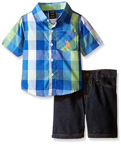 U.S. Polo Assn. Baby Boys' Short Sleeve Plaid Woven Shirt and Denim Short Set