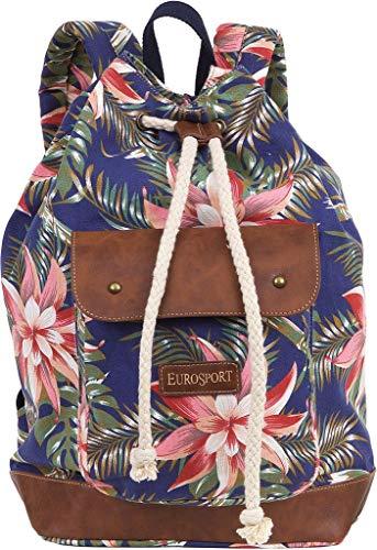 Eurosport Canvas Backpack Hawaiian Floral Print on Blue B714 (Eurosport Canvas Backpack)