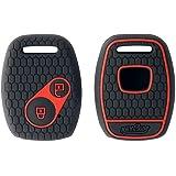 Keycare® Silicone Key Cover for Honda City, Civic, Jazz, Brio, Amaze 2 Button Remote Key (Black)