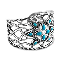 Kenneth Johnson Sterling Silver Sleeping Beauty Cuff Bracelet, Small by Relios