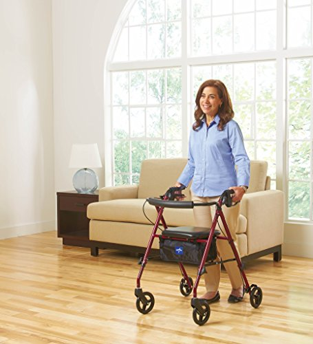 Medline Freedom Mobility Lightweight Folding Aluminum Rollator Walker with 6-inch Wheels, Adjustable Seat and Arms, Burgundy by Medline (Image #6)