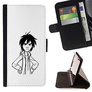 BullDog Case - FOR/Samsung Galaxy S3 Mini I8190Samsung Galaxy S3 Mini I8190 / - / ANGRY BOY PENCIL DRAWING ART BLACK HAIR /- Monedero de cuero de la PU Llevar cubierta de la caja con el ID Credit Card Slots Flip funda de cuer